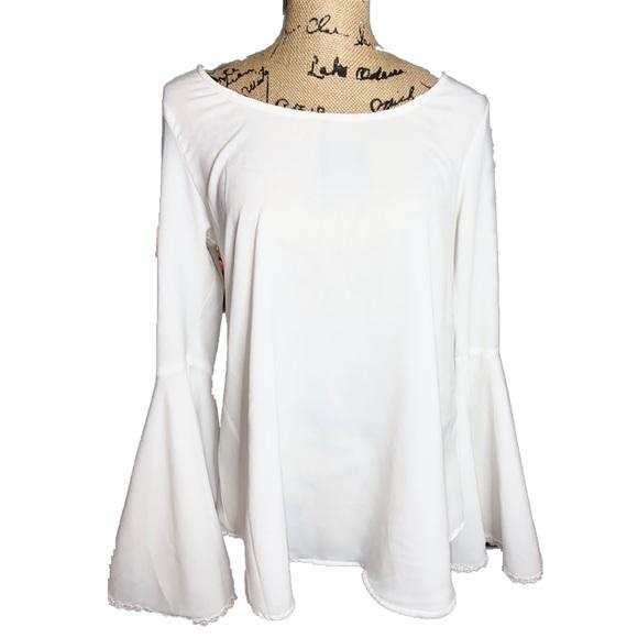 NWOT- Live 4 Truth Boho White Bell Sleeve Top